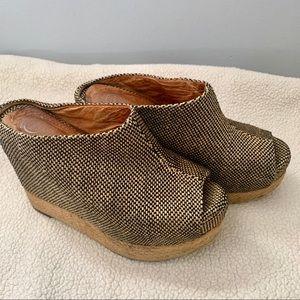 Jeffery Campbell woven fabric platform mule/clogs